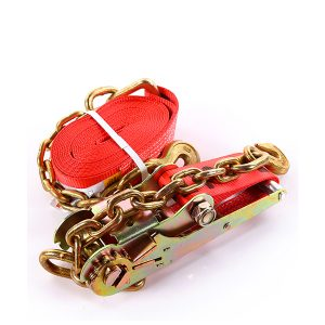 """3""""x30' Red Color Ratchet Strap With The Chain and Clevis Hook"""