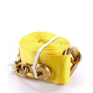 """4""""x30' Yellow Color Winch Strap With The Chain and Clevis Hooks"""