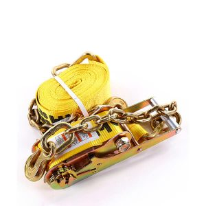 """3""""x30' Yellow Color Ratchet Strap With The Chain and Clevis Hook"""