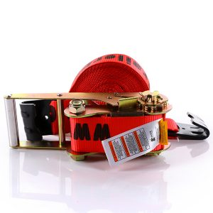 "2""x30' Red Color Ratchet Strap With The Flat Hook"