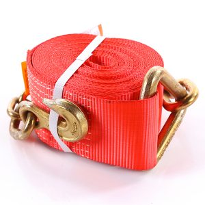 """4""""x40' Red Color Winch Strap With The Chain and Clevis Hooks"""
